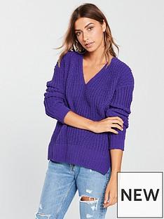 v-by-very-matt-chenille-v-neck-slouch-rib-jumper-violet