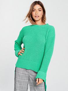 v-by-very-turn-back-cuff-rib-jumper-green