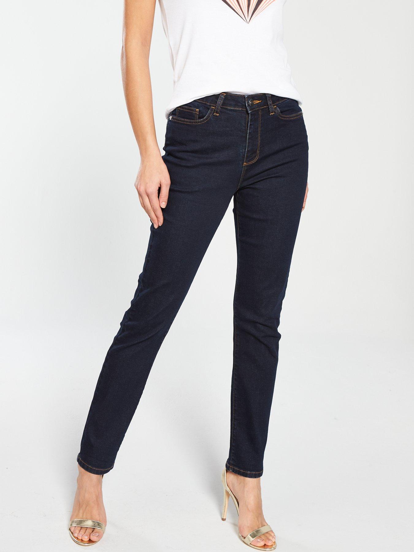 Size 14 Uk Regular New V By Very Isabelle High Rise Slim Leg Jeans Black