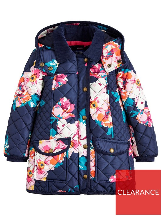 b0a1878d5746 Joules Toddler Girls Briar Hooded Quilted Jacket - Navy