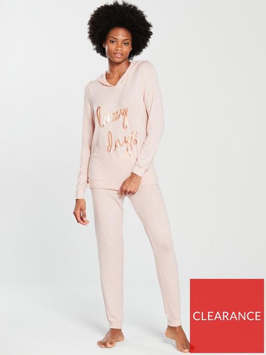 Boux Avenue Lazy Days Slogan Twosie Pyjamas - Blush  206e880ed