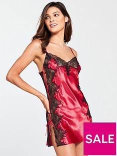 boux-avenue-sophia-strappy-chemise-dark-redblack