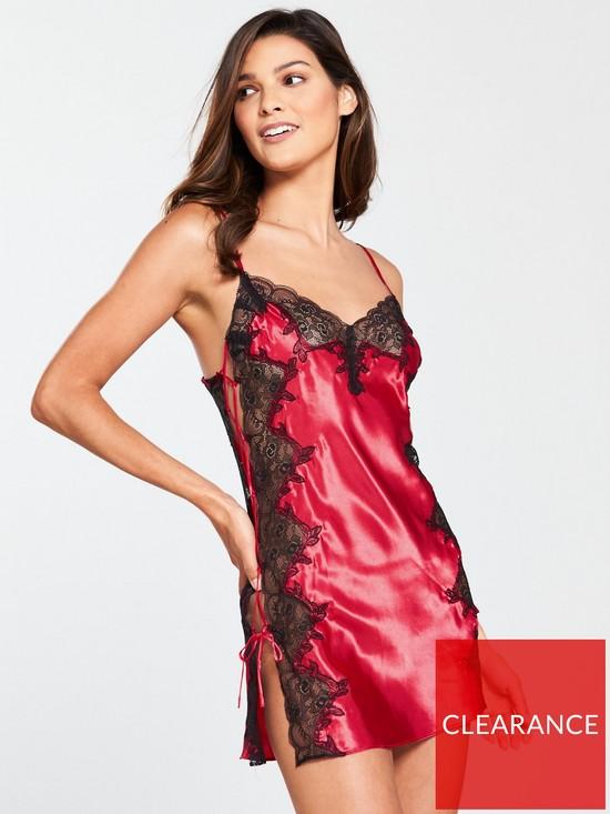 cbd3752dad75d Boux Avenue Sophia Strappy Chemise - Dark Red/Black | very.co.uk