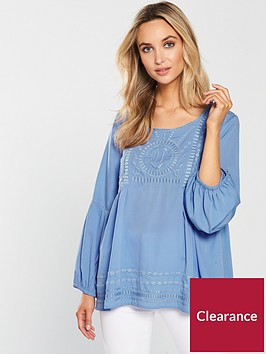 wallis-embroidered-balloon-sleeve-top-blue