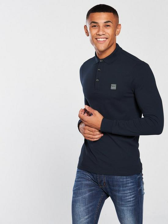 422c7247 BOSS Casual Longsleeve Slim Fit Polo Shirt - Navy | very.co.uk