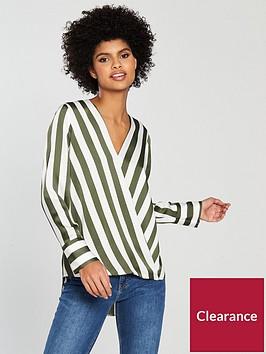 wallis-humbug-stripe-wrap-top-khaki