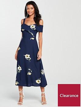 warehouse-daphnie-cold-shoulder-dress