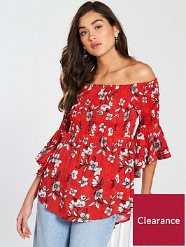 river-island-long-sleeved-shirring-bardot-top-red-print