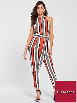 river-island-river-island-high-neck-stripe-jumpsuit--red