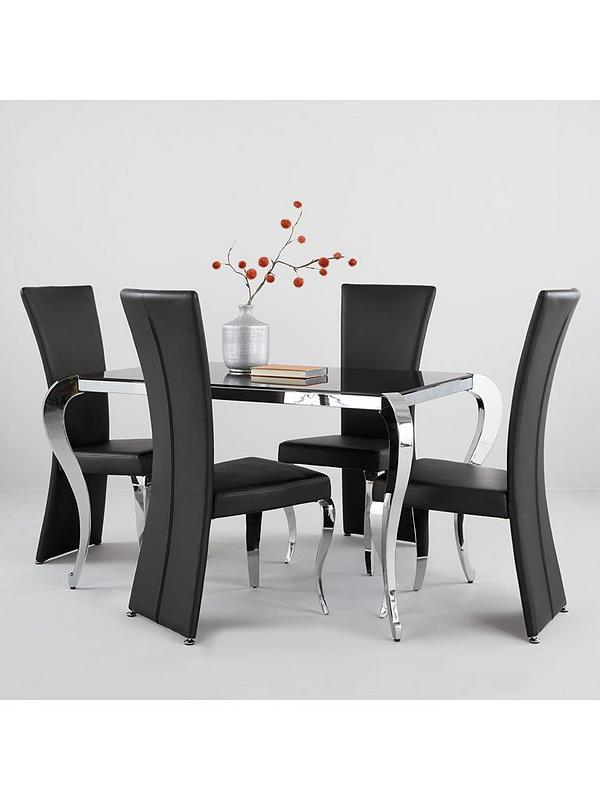 Boutique 139 Cm Glass Dining Table 4 Chairs Very Co Uk