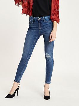 Ri Petite Petite Molly Skinny Jeans - Mid Blue