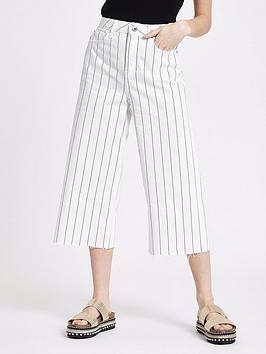 Ri Petite Petite Pinstripe Alexa Wide Leg Crop Jeans - Ecru