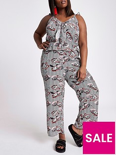 ri-plus-floral-bow-front-jumpsuit--black