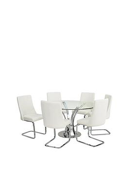 Product photograph showing Alice 130 Cm Round Dining Table 6 Chairs
