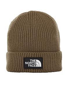 the-north-face-logo-box-cuffed-beanie-khaki
