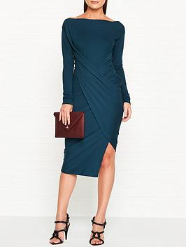 vivienne-westwood-anglomania-vian-drape-long-sleeve-dress-teal