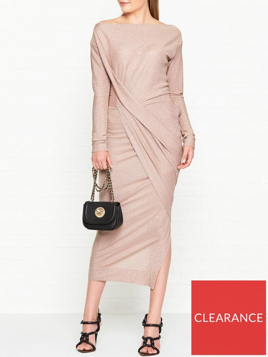 401d590dc89 VIVIENNE WESTWOOD ANGLOMANIA Vian Glitter Jersey Drape Long Sleeve Dress -  Light Pink