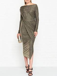 vivienne-westwood-anglomania-vian-glitter-jersey-drape-long-sleeve-dress--nbspgold