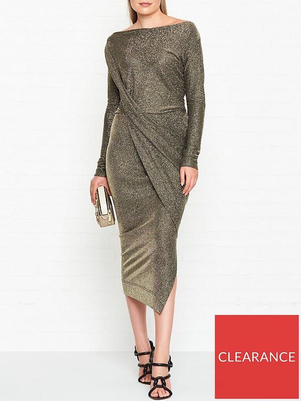 093a860dec4 VIVIENNE WESTWOOD ANGLOMANIA Vian Glitter Jersey Drape Long Sleeve Dress -  Gold