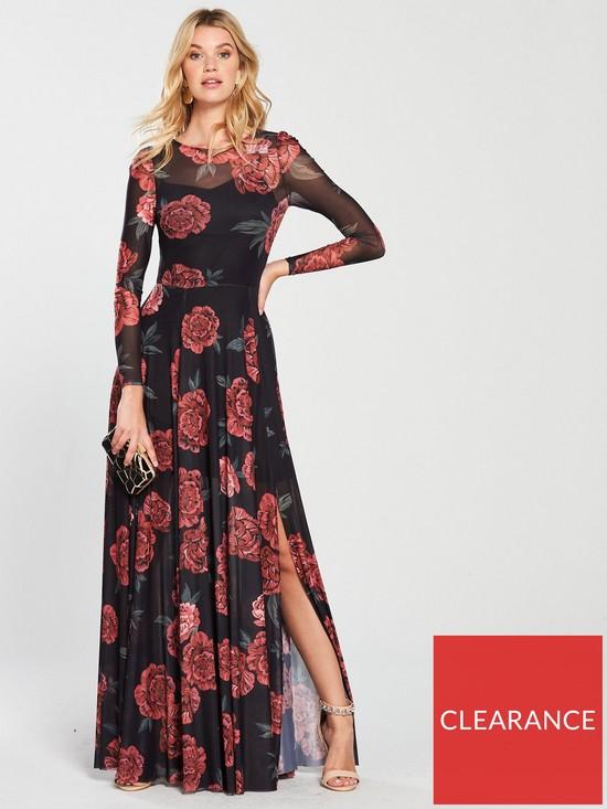 9143694420a V by Very Printed Mesh Maxi Dress - Floral Print