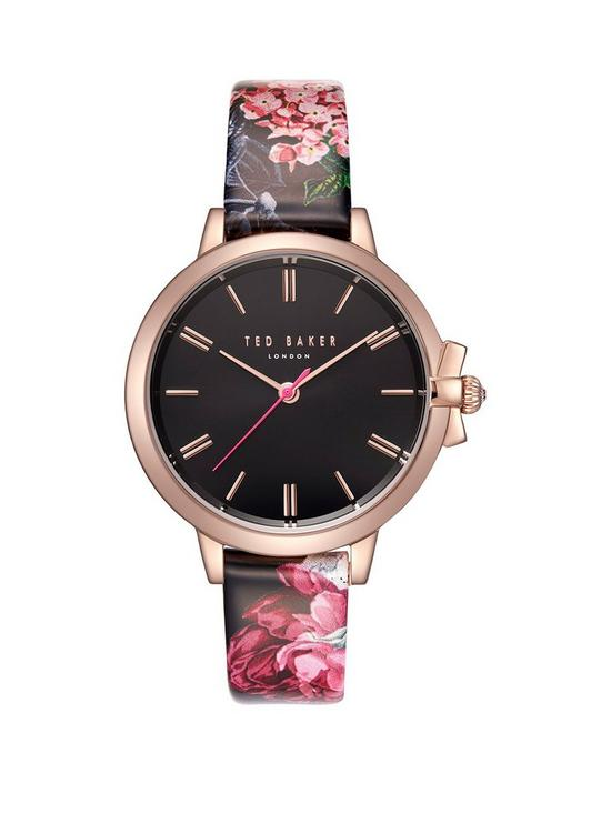 4d4a279d9 Ted Baker Ruth Black Dial and Rose Gold Bow Detail Case with Palace Gardens  Floral Print Leather Strap Ladies Watch