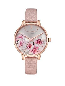 ted-baker-kate-peach-blossom-floral-print-and-rose-gold-dial-pink-leather-strap-ladies-watch