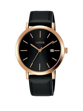 lorus-lorus-black-and-rose-gold-dial-black-leather-strap-watch