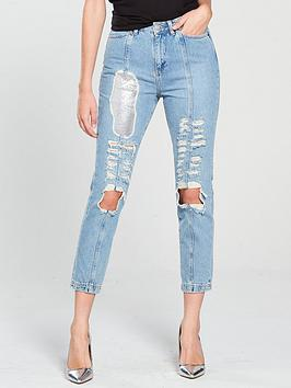 V By Very Unique Chain Mail Ripped Denim Jean - Mid Wash