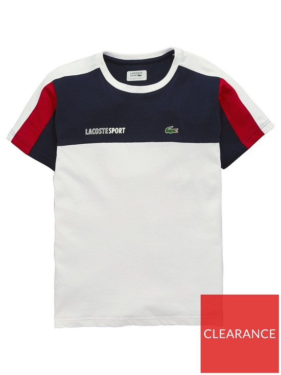 3c621ec6a ... Lacoste Sports Boys Short Sleeve Colourblock T-Shirt. View larger