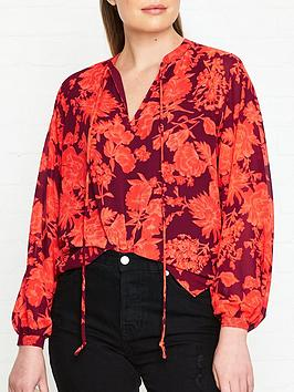 whistles-print-tie-neck-blouse-red