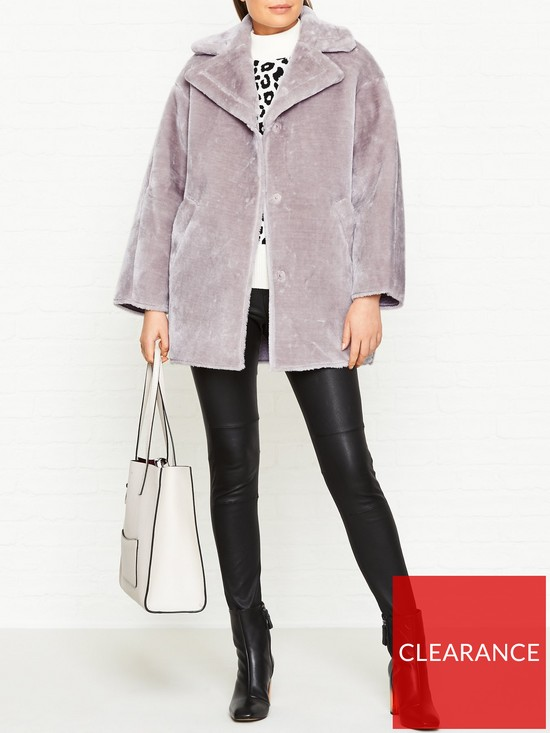 bb84d578bf WHISTLES Faux Fur Cocoon Coat - Lilac | very.co.uk