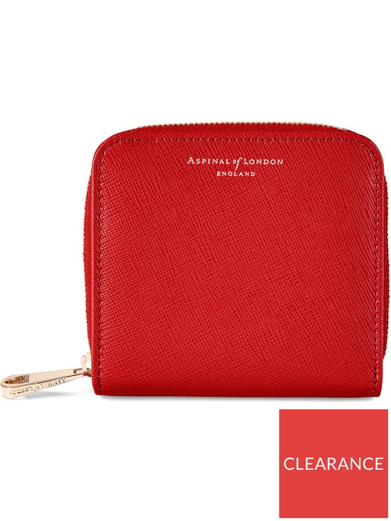 856f030c3974 ASPINAL OF LONDON Mini Continental Zipped Coin Purse - Red