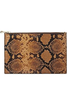 aspinal-of-london-large-essential-snake-print-pouch-tan