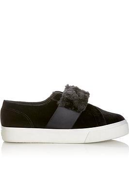 superga-2399-velvet-fur-trim-plimsolls-black