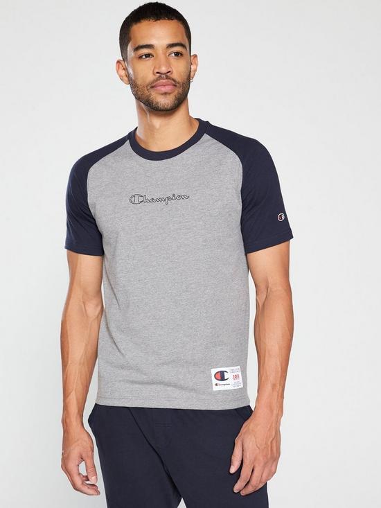 67a55f7b Champion Colour Block T-Shirt – Grey Marl | very.co.uk