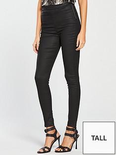 v-by-very-tall-charleynbsphigh-waistednbspsuper-skinny-coated-jeggingnbsp--black-coated