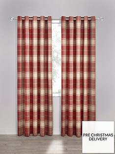 highland-check-faux-wool-eyelet-curtainsnbsp