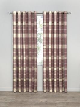 highland-check-faux-wool-eyelet-curtains