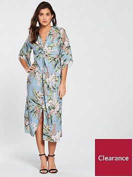 river-island-printed-knot-front-dress-blue