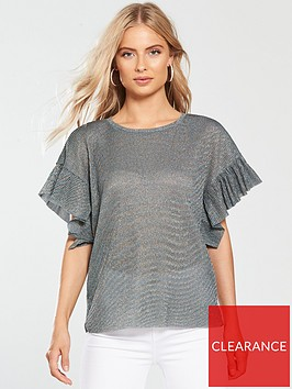 v-by-very-frill-sleeve-plisse-top-metallic