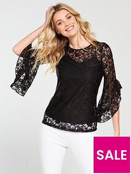 v-by-very-lace-fluted-sleeve-top-black