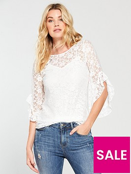v-by-very-lace-fluted-sleeve-top-ivory