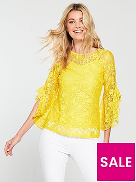 v-by-very-lace-fluted-sleeve-top-yellow
