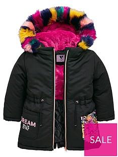 00637afa4d59a Mini V by Very Girls Rainbow Sequin Multi Faux Fur Parka Coat - Black