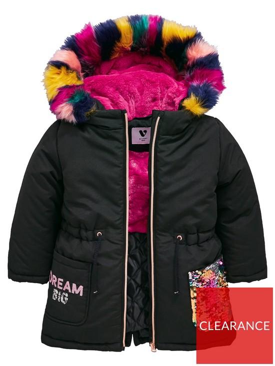 c958aee55 Girls Rainbow Sequin Multi Faux Fur Parka Coat - Black