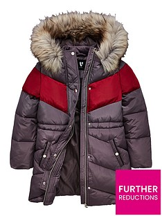 v-by-very-girls-long-line-chevron-stripe-padded-coat-grey