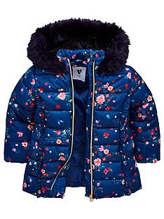 0fa9e12ad339be Mini V by Very Girls Floral Padded Jacket - Navy