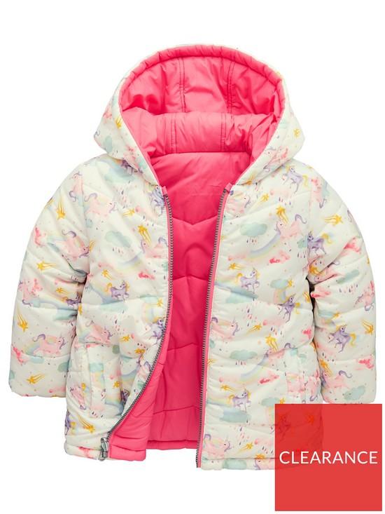 1013bdafc Girls Unicorn Reversible Padded Coat - Multi