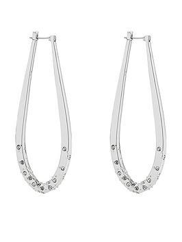 karen-millen-crystal-sprinkle-loop-earrings-silvernbsptone