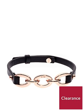 karen-millen-chain-link-leather-bracelet-blackrose-gold